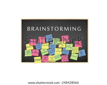Brainstorming Ideas on post it notes on blackboard isolated on white background - stock photo