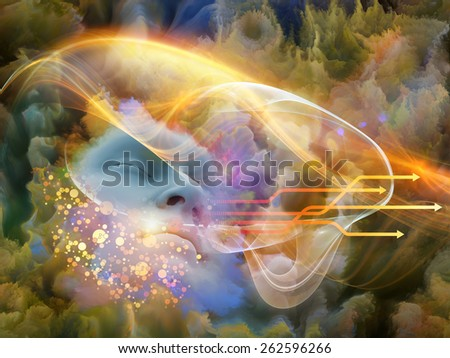 Brainwaves series. Background design of human face and colorful fractal clouds on the subject of dreams, mind, spirituality, imagination and inner world - stock photo
