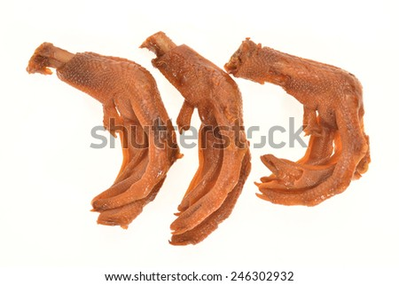 Braised Duck Feet Isolated on White Background - stock photo