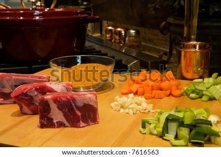 Braised Short ribs Prep 2 - stock photo