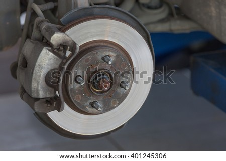 brake and detail of the wheel hub