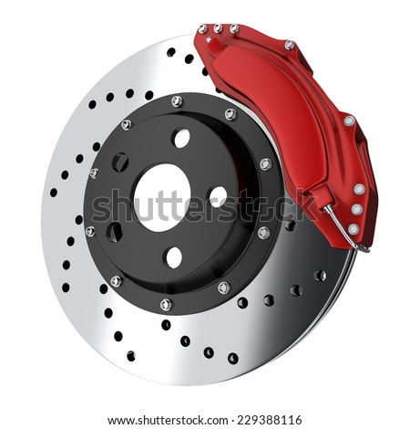 Brake car red (done in 3d, isolated)  - stock photo