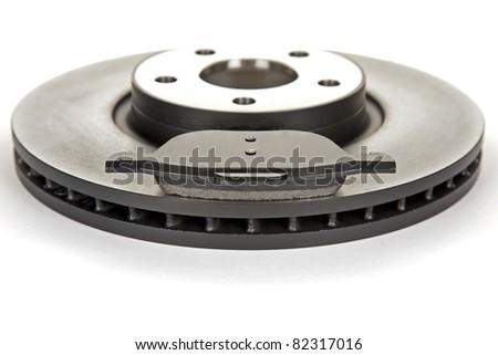 brake disc and brake pad - stock photo