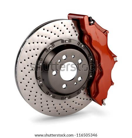 Brake Disc and Red Calliper from a Racing Car isolated on white background - stock photo