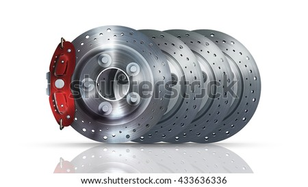 brake disk with perforation and red calipers and pads  isolated on white background. High resolution 3d