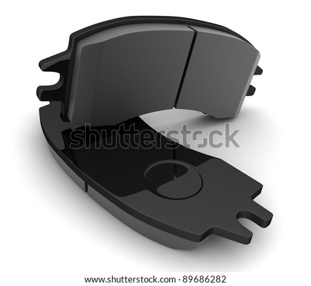 Brake pads on white background (done in 3d) - stock photo