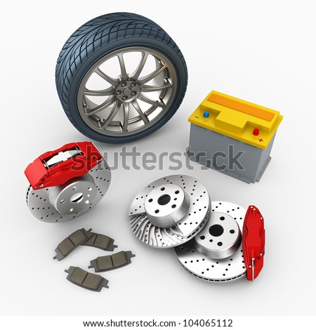 brake system, car battery and wheel on white background. 3d render. - stock photo