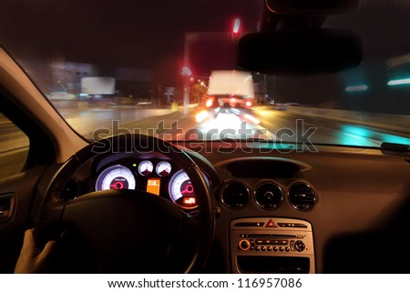 Braking before the intersection - stock photo