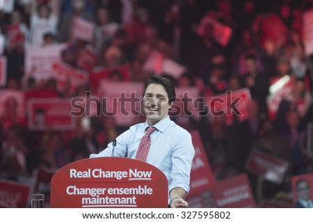 BRAMPTON - OCTOBER 4 :Justin Trudeau during an election rally of the Liberal Party of Canada on October 4, 2015 in Brampton, Canada. - stock photo