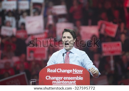 BRAMPTON - OCTOBER 4 :Justin Trudeau in an angry mood during an election rally of the Liberal Party of Canada on October 4, 2015 in Brampton, Canada. - stock photo