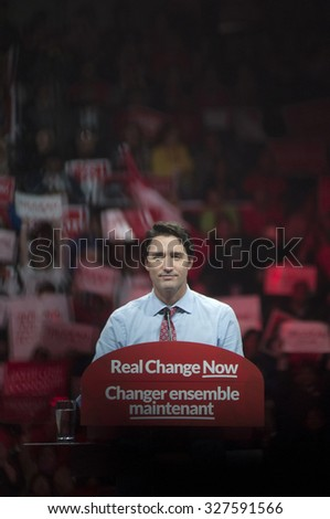 BRAMPTON - OCTOBER 4 :Justin Trudeau speaking among his followers during an election rally of the Liberal Party of Canada on October 4, 2015 in Brampton, Canada. - stock photo