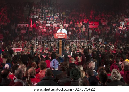 BRAMPTON - OCTOBER 4 :Justin Trudeau speaking during an election rally of the Liberal Party of Canada on October 4, 2015 in Brampton, Canada.