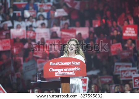BRAMPTON -OCTOBER 4:Sophie Grégoire -wife of Justin Trudeau in a lighter mood while speaking to the crowd  during an election rally of the Liberal Party of Canada on October 4,2015 in Brampton,Canada. - stock photo