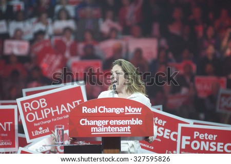 BRAMPTON - OCTOBER 4 : Sophie Grégoire -wife of Justin Trudeau speaking to the crowd  during an election rally of the Liberal Party of Canada on October 4, 2015 in Brampton, Canada. - stock photo