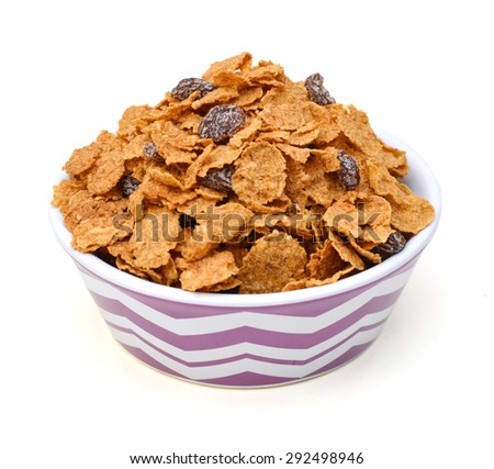Bran and raisin cereal, top view  - stock photo
