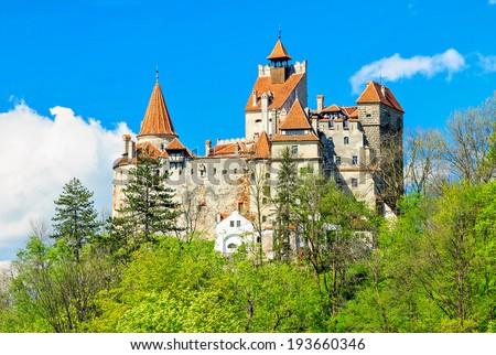 Bran castle and spring landscape,Transylvania,Romania - stock photo