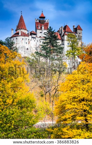 Bran Castle, Transylvania. Autumn stunning landscape with fortress at the border between Wallachia and Transylvania. It is also known for the myth of Dracula. Brasov, Romania. - stock photo