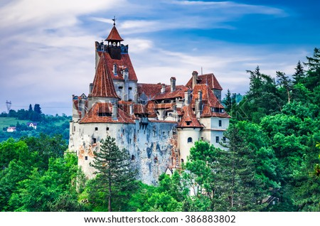Bran Castle, Transylvania. Guarded in the past the border between Wallachia and Transylvania. It is also known for the myth of Dracula. Romania. - stock photo
