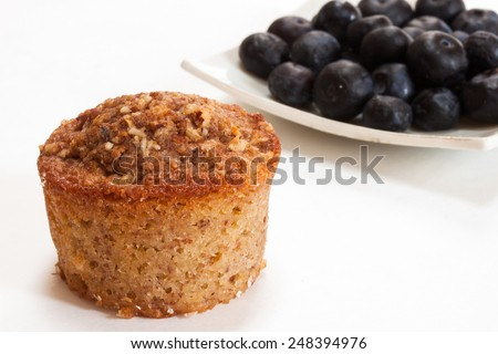 Bran muffin isolated on white with blueberries - stock photo