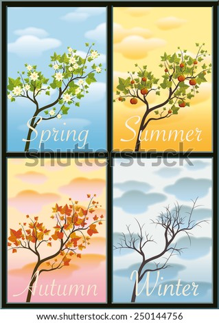branch as symbol of the four seasons