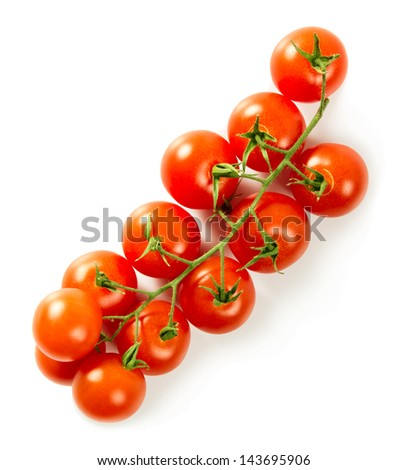 Branch of cherry tomatoes isolated on white - stock photo