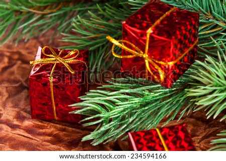 branch of Christmas tree with gift box - stock photo