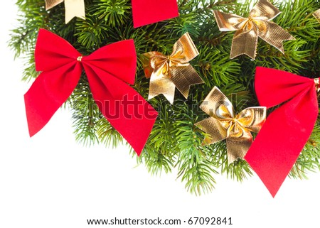 branch of Christmas tree with ribbon - stock photo