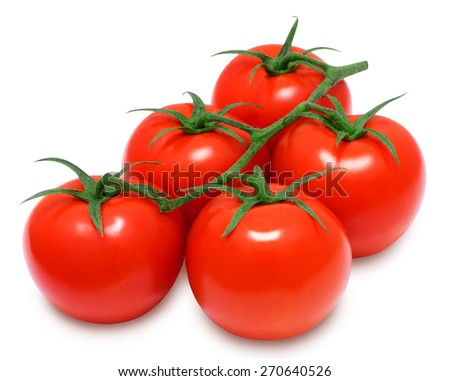 Branch of fresh red tomatoes on isolated white backround - stock photo