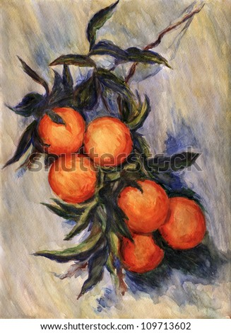 "Branch of Orange. Inspired by Claude Monet painting ""Branch of Orange Bearing Fruit"", watercolor interpretation."