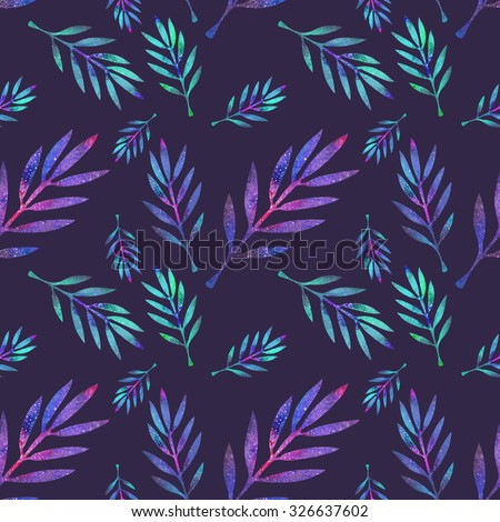 Branch. Seamless pattern with cosmic or galaxy plants. Hand-drawn original floral background. Real watercolor drawing.  - stock photo