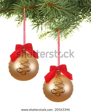 Branch with christmas balls with red ribbons