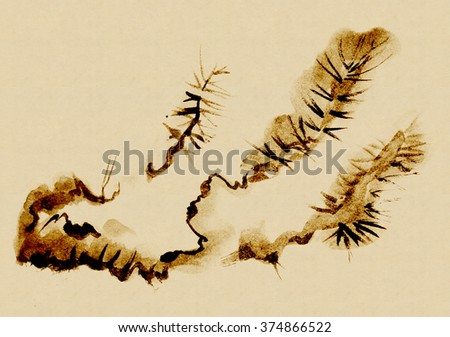 Branches of an old Pine tree, drawn in the style of sumi-e. - stock photo