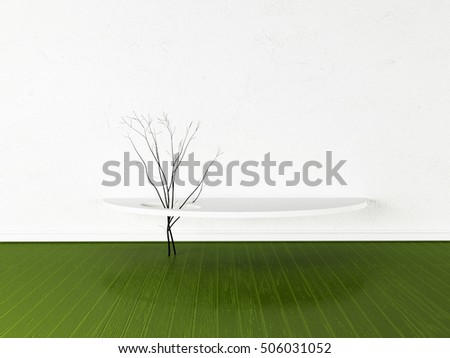 branches on the table, 3d rendering