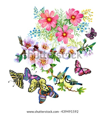 Branches With Green Leaves And Beautiful Flowers Cute Birds Butterflies Watercolor Pattern On White