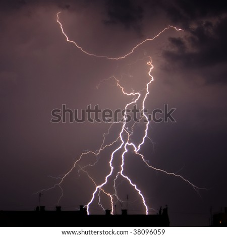 Branchy lightning - stock photo