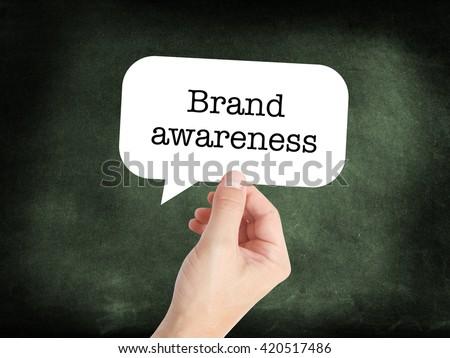 Brand awareness written on a speechbubble - stock photo