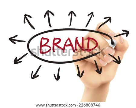 brand concept written by 3d hand over white background - stock photo
