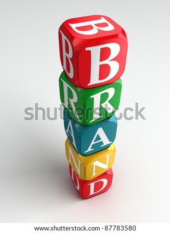 brand 3d colorful buzzword tower on white background