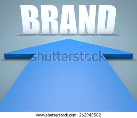 Brand - 3d render concept of blue arrow pointing to text. - stock photo