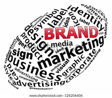 BRAND info text graphics and arrangement concept (word clouds) on white background - stock photo
