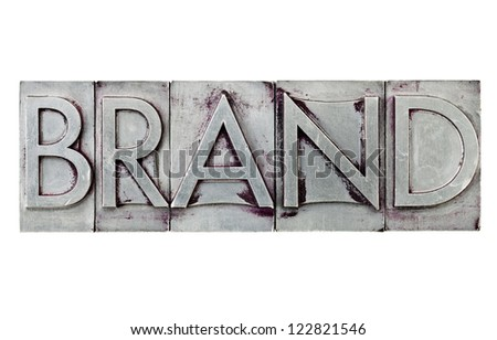 brand - isolated word in vintage letterpress metal type printing blocks - stock photo