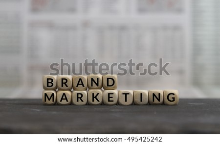 Brand Marketing word built with wooden letters
