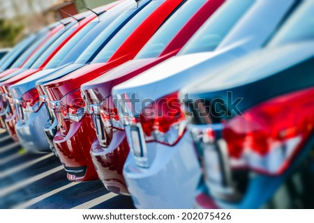 Brand New Cars in Stock. Car Dealership Cars For Sale. - stock photo