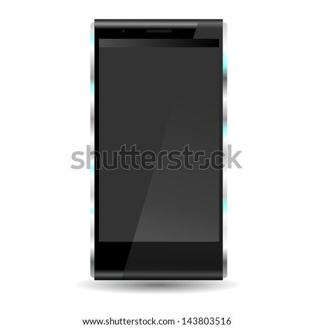 brand new future smartphone 6 release of all best selling top brand, black phone with black screen - stock photo
