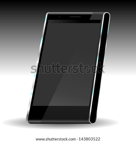 brand new future smartphone 6 release of all best selling top brand, perspective illustration with black screen - stock photo