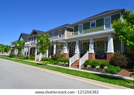 Brand New Suburban American Neighborhood - stock photo