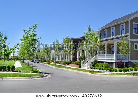 Brand New Suburban Neighborhood Development - stock photo