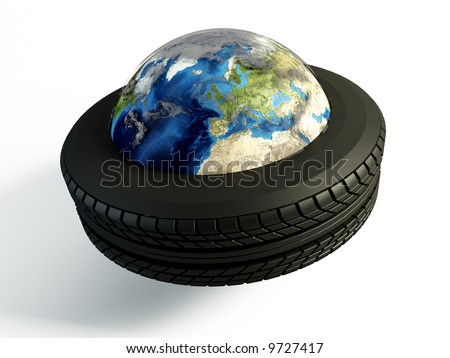 Brand new tire around the world on isolated white background - stock photo