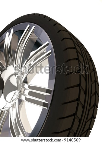 Brand new tire, 3d rendering of car wheel, isolated on white. - stock photo