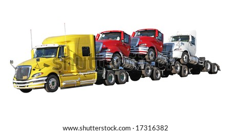 Brand new trucks isolated on white background - stock photo